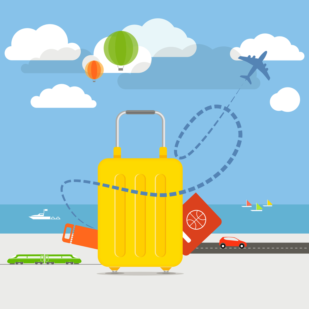 Vacation travelling concept. Flat design illustration